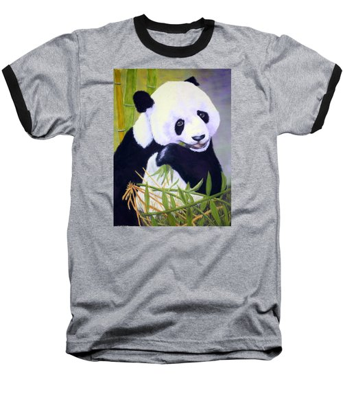 Hungry Panda Baseball T-Shirt by Nancy Jolley