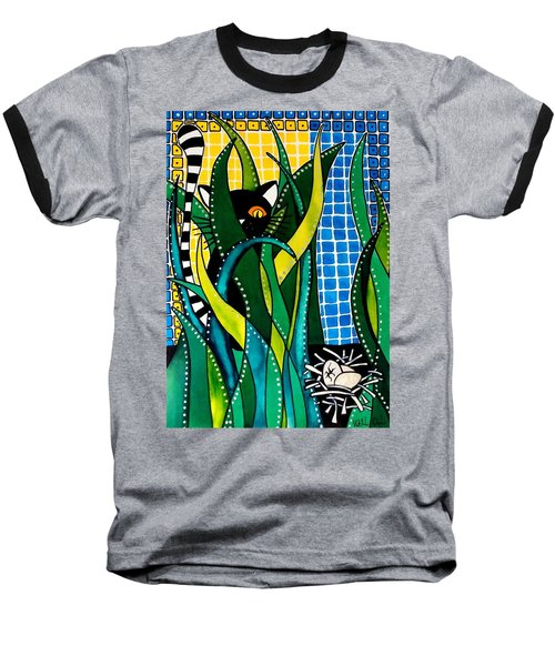 Hunter In Camouflage - Cat Art By Dora Hathazi Mendes Baseball T-Shirt by Dora Hathazi Mendes
