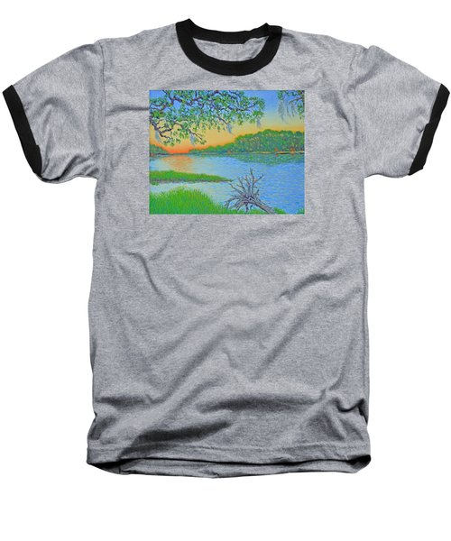 Baseball T-Shirt featuring the painting Hunting Island Lagoon 2 by Dwain Ray