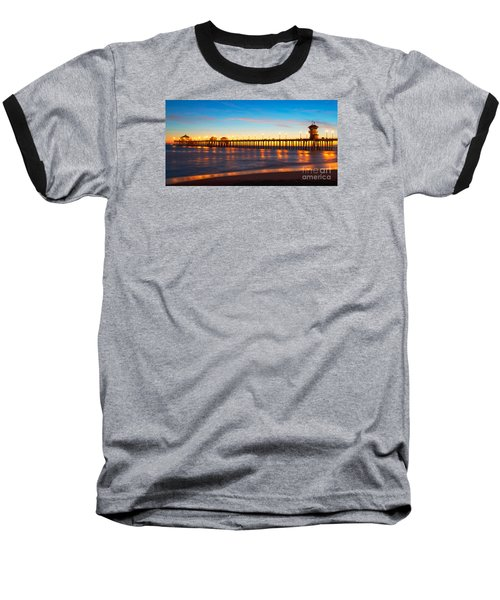 Huntington Beach Pier - Twilight Baseball T-Shirt by Jim Carrell