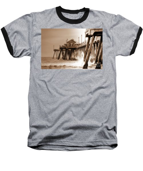 Huntington Beach Pier In Sepia Baseball T-Shirt