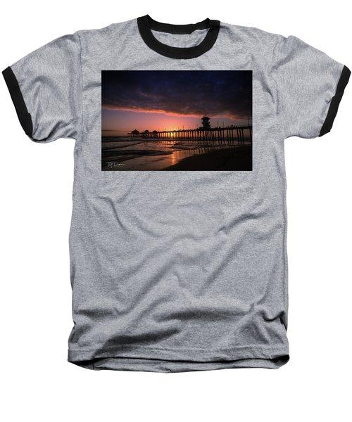 Huntington Pier At Sunset Baseball T-Shirt