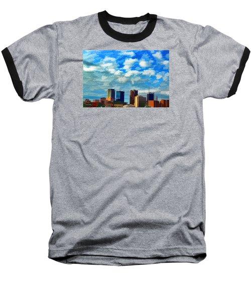 Huntsville Alabama Skyline Abstract Art Baseball T-Shirt by Lesa Fine