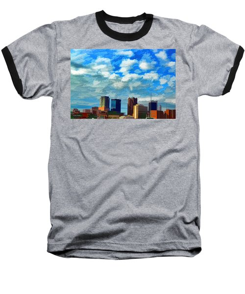 Huntsville Alabama Skyline Abstract Art Baseball T-Shirt