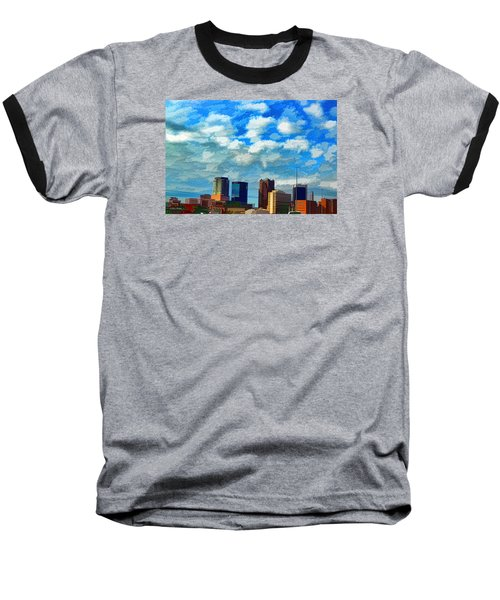 Huntsville Alabama Skyline Abstract Art Baseball T-Shirt