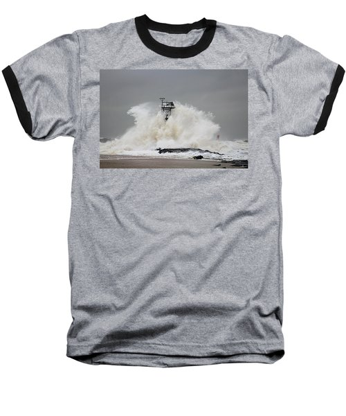 Hurricane Jose Wave At The Inlet Jetty Baseball T-Shirt