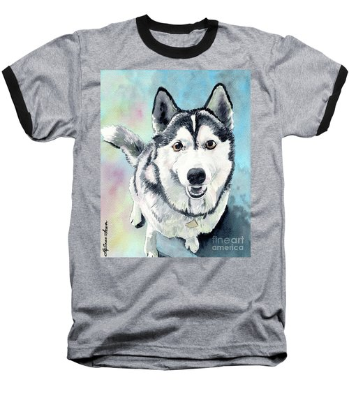 Husky Dog Love, Husky Painting, Husky Print, Dog Painting, Dog Print Baseball T-Shirt