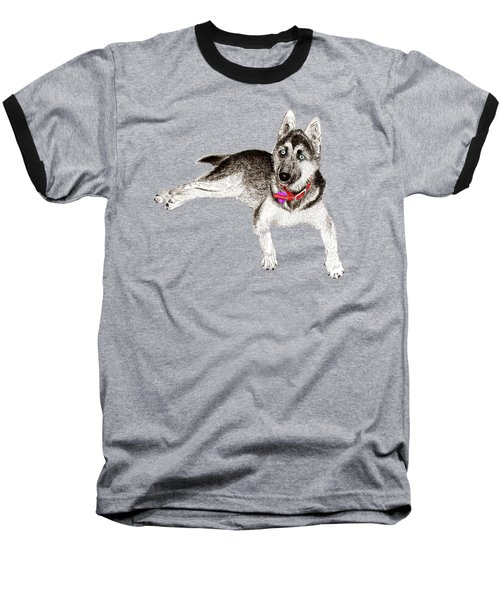 Husky Puppy Bella Baseball T-Shirt by Jack Pumphrey