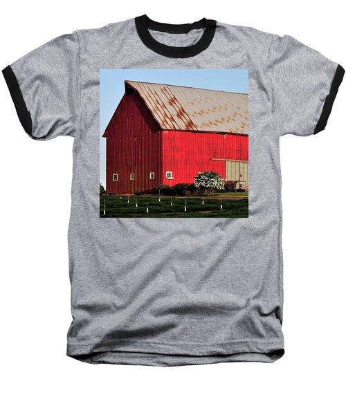 Hwy 47 Red Barn 21x21 Baseball T-Shirt by Jerry Sodorff