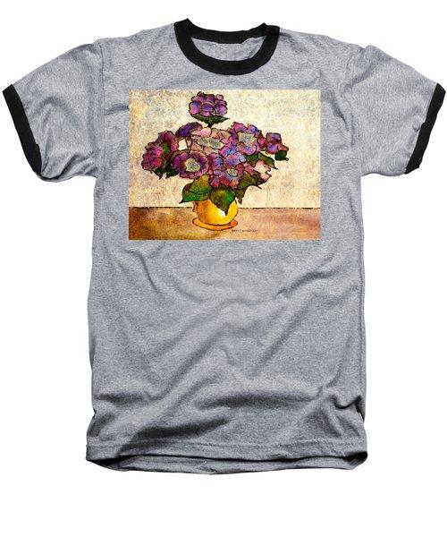 Hydrangeas In Yellow Jug Baseball T-Shirt