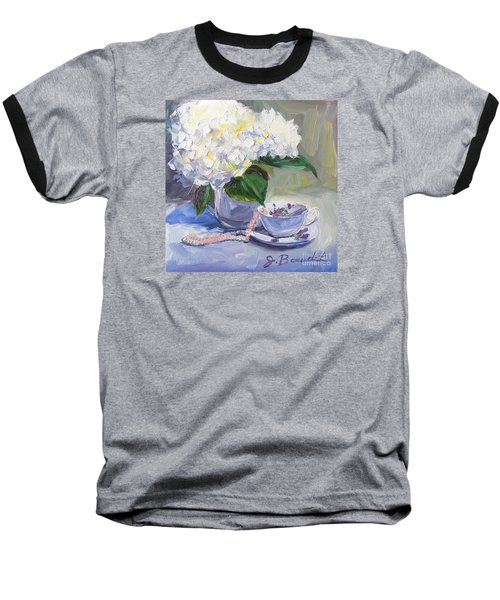 Baseball T-Shirt featuring the painting Hydrangeas With Pearls  by Jennifer Beaudet