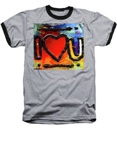 Baseball T-Shirt featuring the painting I Heart You by Genevieve Esson