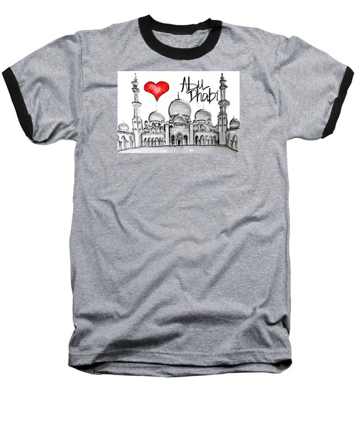 I Love Abu Dhabi Baseball T-Shirt by Sladjana Lazarevic