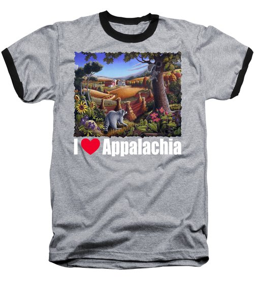 I Love Appalachia T Shirt - Coon Gap Holler 2 - Country Farm Landscape Baseball T-Shirt by Walt Curlee