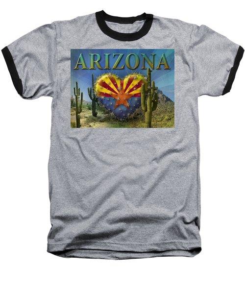 I Love Arizona Landscape Baseball T-Shirt by James Larkin
