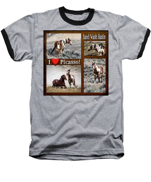 I Love Picasso Collage Baseball T-Shirt by Nadja Rider
