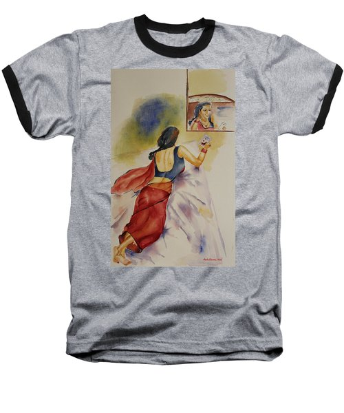 Baseball T-Shirt featuring the painting I Miss You by Geeta Biswas