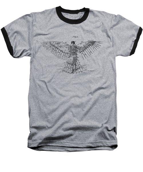 Baseball T-Shirt featuring the digital art Icarus Human Flight Patent Artwork - Vintage by Nikki Smith