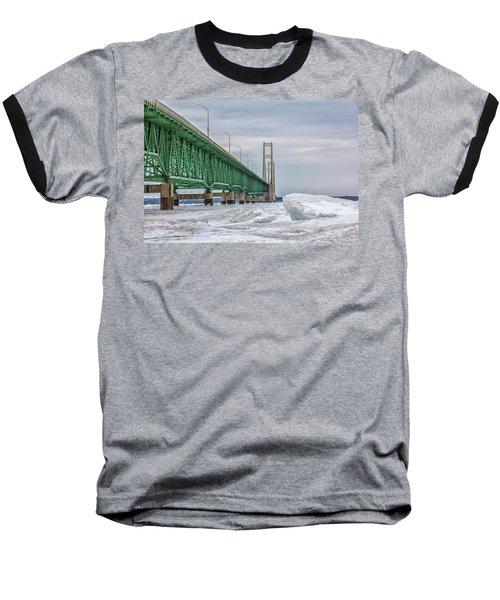 Baseball T-Shirt featuring the photograph Ice And Mackinac Bridge  by John McGraw