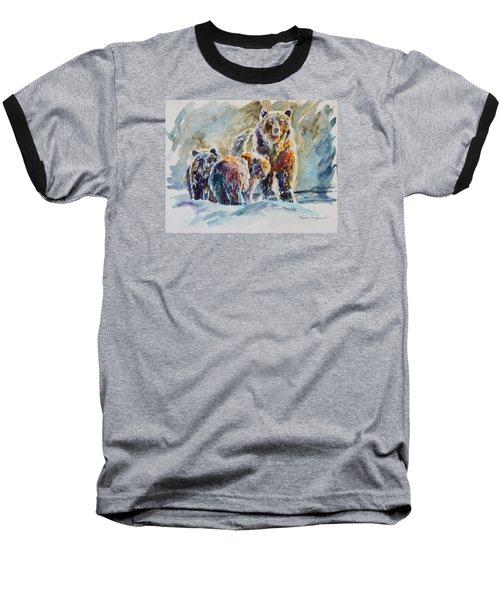 Baseball T-Shirt featuring the painting Ice Bears by P Maure Bausch