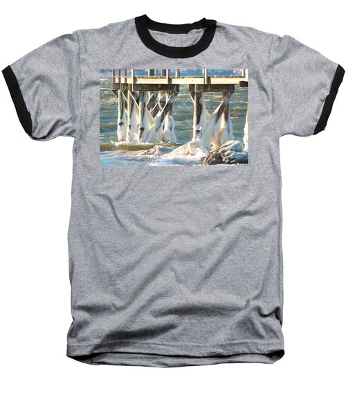 Ice Covered Pilings Baseball T-Shirt