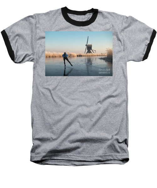 Ice Skating Past Frosted Reeds And A Windmill Baseball T-Shirt