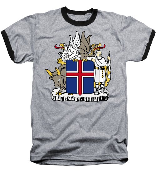 Baseball T-Shirt featuring the drawing Iceland Coat Of Arms by Movie Poster Prints