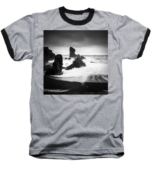 Iceland Dritvik Beach And Cliffs Dramatic Black And White Baseball T-Shirt