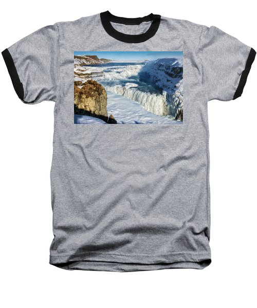 Baseball T-Shirt featuring the photograph Iceland Gullfoss Waterfall In Winter With Snow by Matthias Hauser