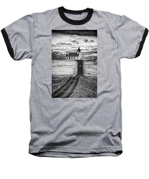 Iceland Ingjaldsholl Church And Mountains Black And White Baseball T-Shirt