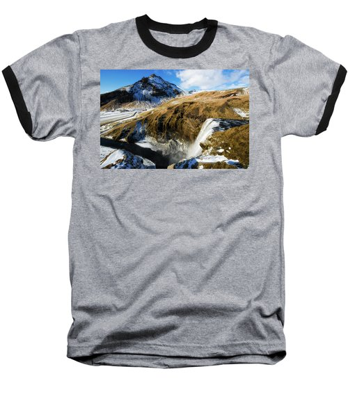 Baseball T-Shirt featuring the photograph Iceland Landscape With Skogafoss Waterfall by Matthias Hauser