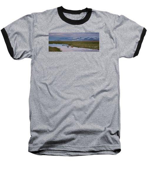 Iceland Sheep Reflections Panorama  Baseball T-Shirt
