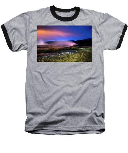 Baseball T-Shirt featuring the photograph Icelandic Geyser At Night by Dubi Roman