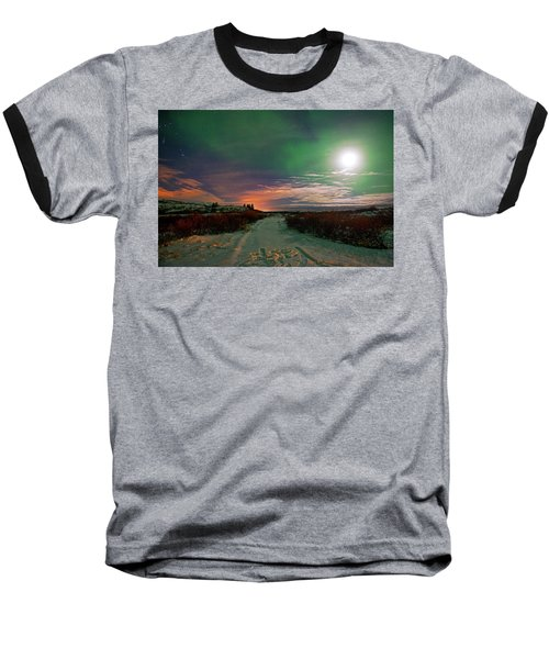Baseball T-Shirt featuring the photograph Iceland's Landscape At Night by Dubi Roman