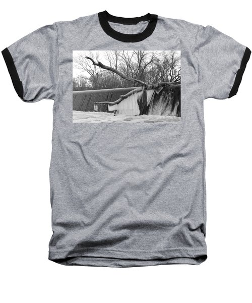 Icicle Laden Branch Over The Waterfall Baseball T-Shirt