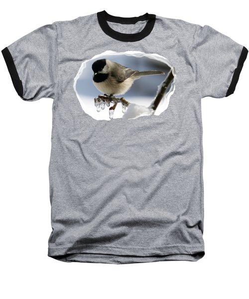 Icicle Perch Baseball T-Shirt by Karen Beasley