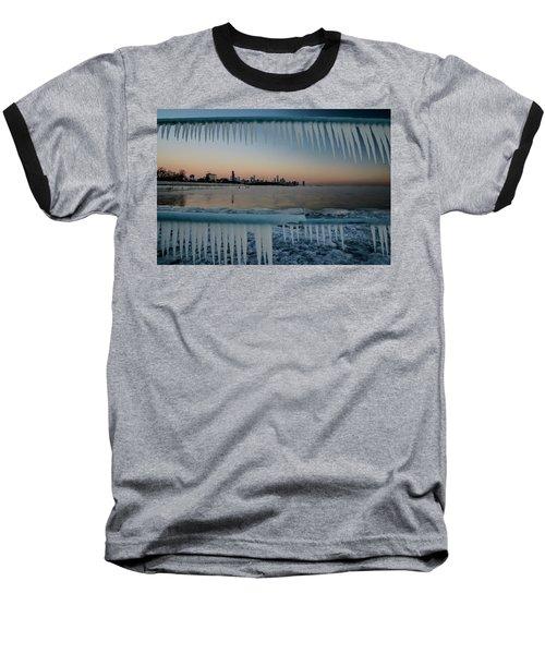 Icicles And Chicago Skyline Baseball T-Shirt