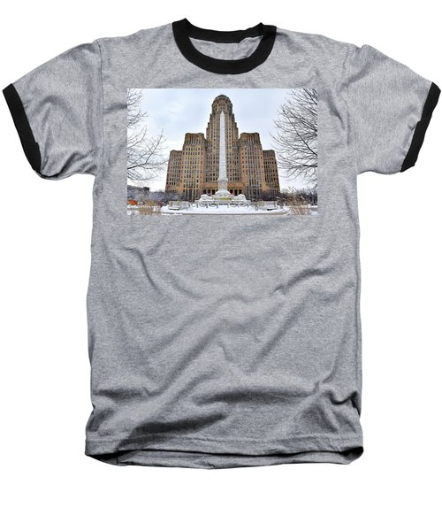 Iconic Buffalo City Hall In Winter Baseball T-Shirt