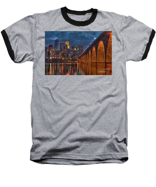 Iconic Minneapolis Stone Arch Bridge Baseball T-Shirt