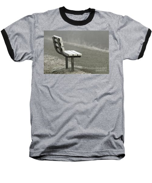 Icy Bench In The Fog Baseball T-Shirt