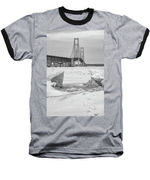 Baseball T-Shirt featuring the photograph Icy Black And White Mackinac Bridge  by John McGraw