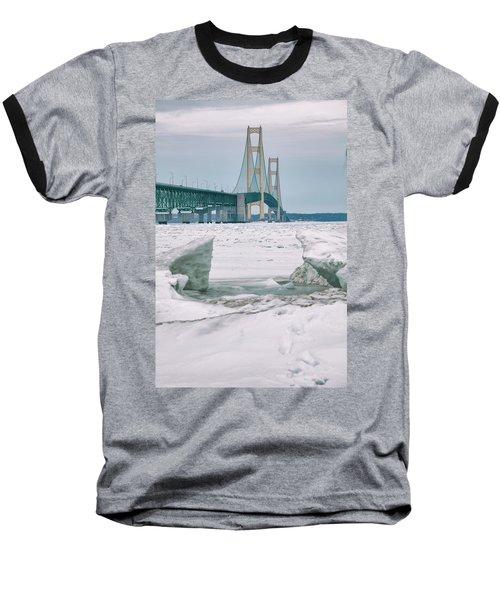 Baseball T-Shirt featuring the photograph Icy Day Mackinac Bridge  by John McGraw