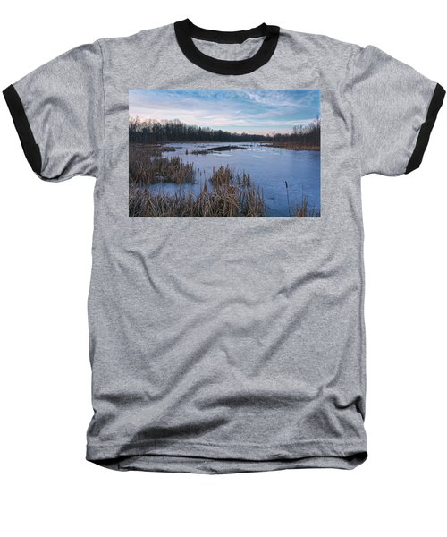 Icy Glazed Wetlands Baseball T-Shirt by Angelo Marcialis