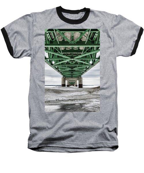 Baseball T-Shirt featuring the photograph Icy Mackinac Bridge In Winter by John McGraw