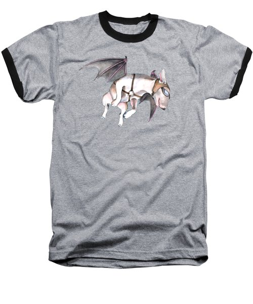 Baseball T-Shirt featuring the painting If Pigs Could Fly by Jindra Noewi