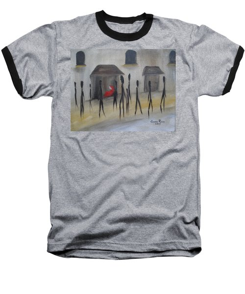 Baseball T-Shirt featuring the painting Ignoring The Homeless by Judith Rhue