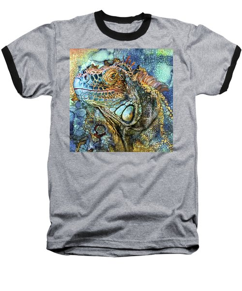 Baseball T-Shirt featuring the mixed media Iguana - Spirit Of Contentment by Carol Cavalaris