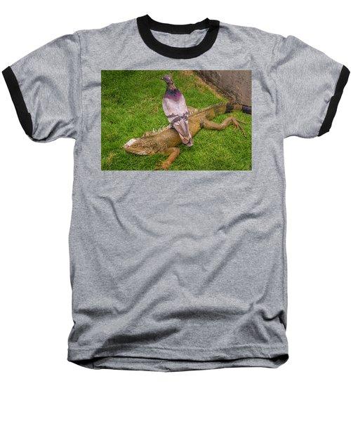 Iguana With Pigeon On Its Back Baseball T-Shirt
