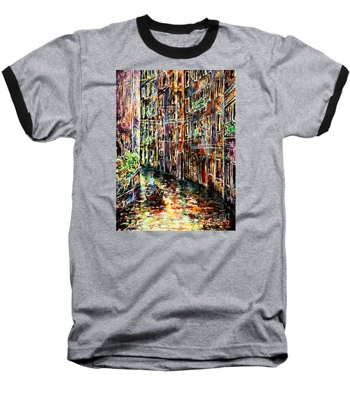 Baseball T-Shirt featuring the painting Il Giro Finale Del Gondoliere by Alfred Motzer
