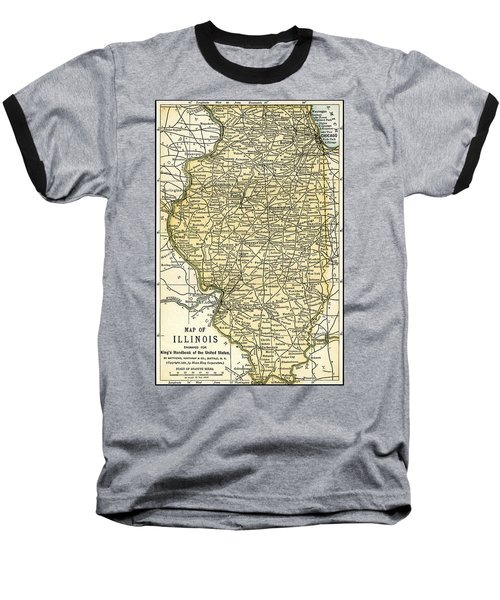Illinois Antique Map 1891 Baseball T-Shirt by Phil Cardamone